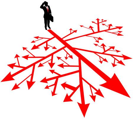 La persona tiene que encontrar un camino a través de rutas de decisión complicadas y confusas Ilustración de vector