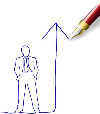 펜 비즈니스 남자를위한 성공 전략을 그리는 그림에 유용한 복사 공간 일러스트