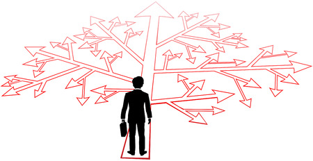 go forward: Business man faces complicated choices and confusing decisions to go forward Illustration