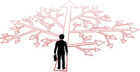 Zaken man staat voor ingewikkelde keuzes en verwarrend besluiten om vooruit te gaan