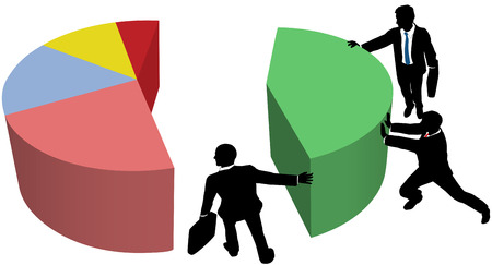 share market: Team of business people work to build pie chart of market share sales or profit growth