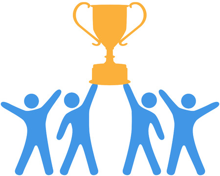 People celebrate win of trophy won by group teamwork