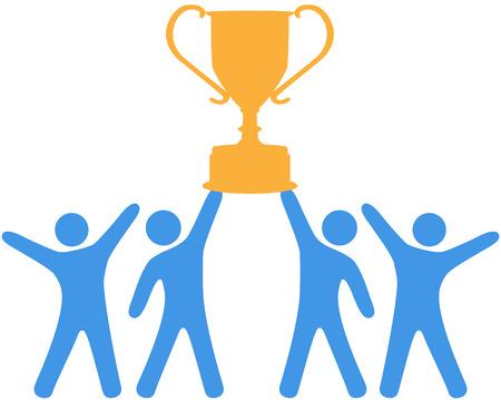 Mensen vieren overwinning van trofee gewonnen door groep teamwork
