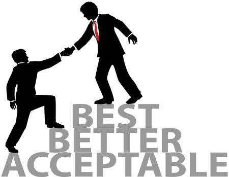 Bedrijfs persoon omhoog te helpen om deel te nemen best practices mensen krijgt