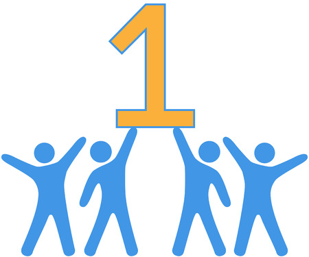 number of people: People celebrate Number One group teamwork win Illustration