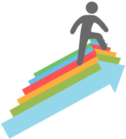 진행 화살표 기호의 단계를 등반 성공적인 사람