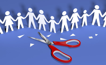 paper cut out: Scissors cut out paper doll chain families to join in social community