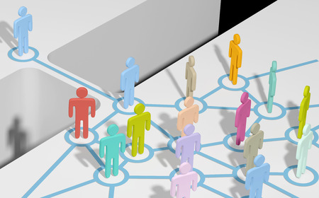 소셜 미디어 네트워크 또는 팀을 연결하고 가입 격차를 사람