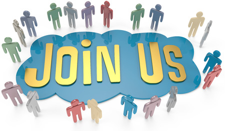 group  join: People group around Join Us invitation for social or business website icon