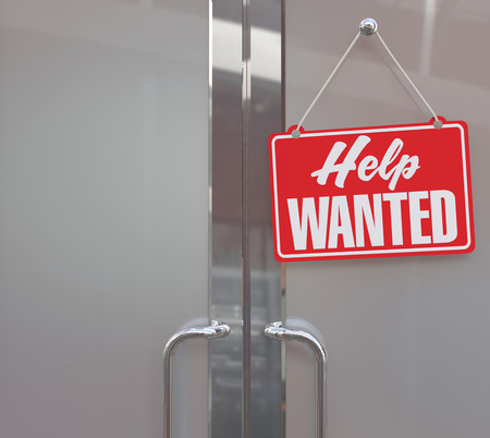 wanted: Help Wanted sign on business company or retail store door to hire people