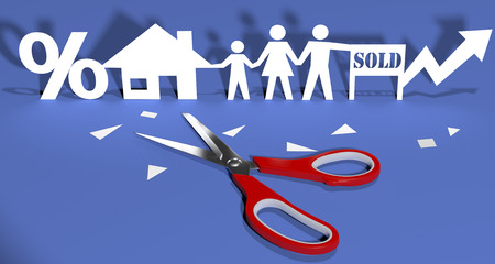 Scissors cut out paper doll family buying home real-estate investment  photo