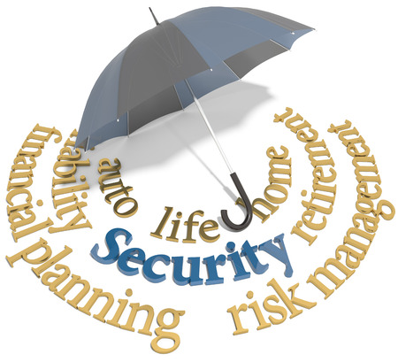 Símbolo del paraguas de la seguridad integral de seguro de vida auto en casa y otros riesgos Foto de archivo - 27395560