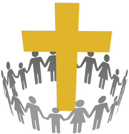 Gold cross inside a community or congregation circle of families Vectores