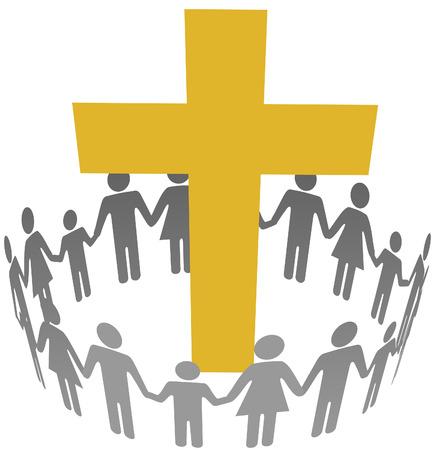 Gouden kruis binnen een gemeenschap of congregatie cirkel van gezinnen Stock Illustratie