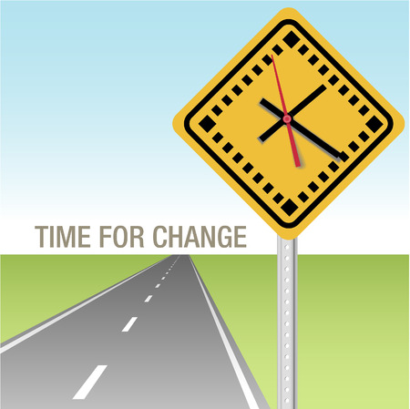 Traffic sign clock and future road time for change ahead Ilustrace