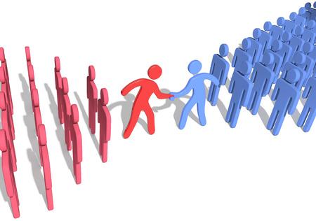 Sociale of zakelijke onderneming teamleiders treden in overleg met handdruk