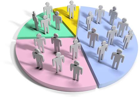Groepen mensen als financiële marketing data statistieken over cirkeldiagram