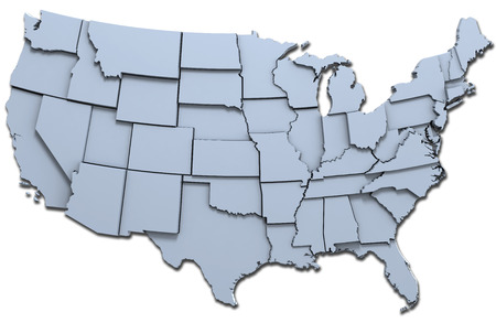 Map of the 48 continental USA states raised with clipping-path
