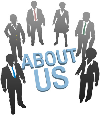 Business people on company website About Us information Vector