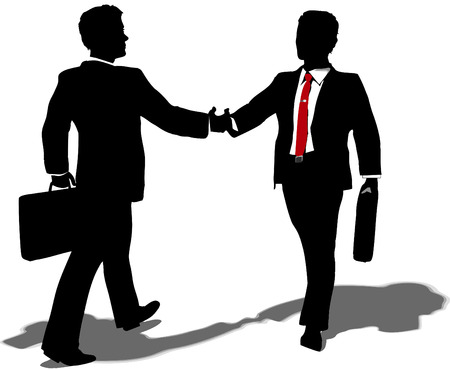 merger: Business people walk to meet shake hands and team up on partnership merger deal Illustration