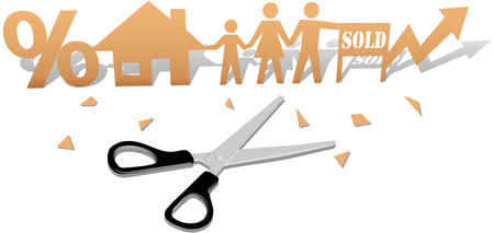 Scissors cut out paper doll family buying home real-estate investment