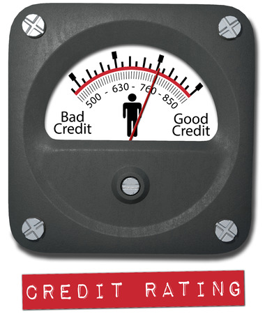 credit report: Meter measures good credit rating of consumer person Stock Photo