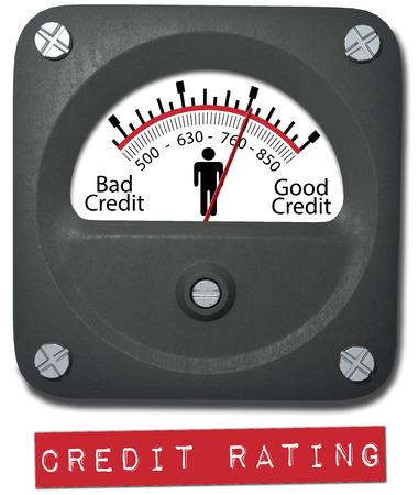 Meter measures good credit rating of consumer person Standard-Bild