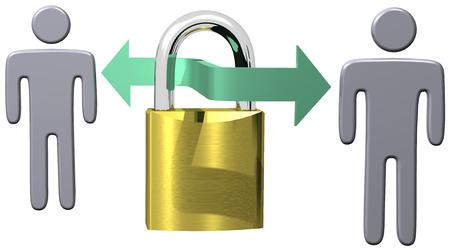 セキュリティで保護された通信データ保護安全ロック接続を介してコンピューターの人々