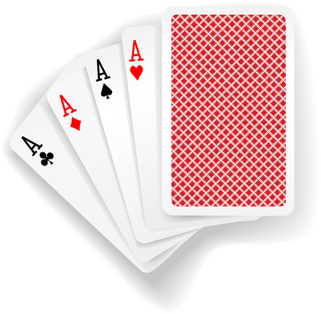 Four aces in five card poker hand playing cards with back design Çizim