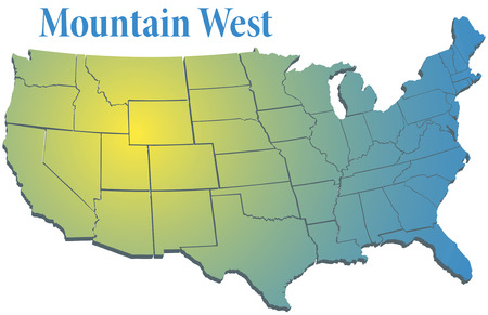 western usa: Sunny spotlight shines on map of states in US Mountain West region