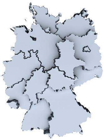 Map of Germany sixteen states German republic Deutschland