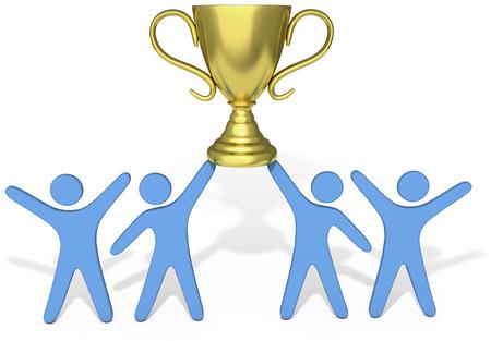 사람들은 성공적인 그룹의 팀워크로 우승 트로피의 승리를 축 하