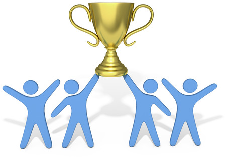 People celebrate win of trophy won by successful group teamwork