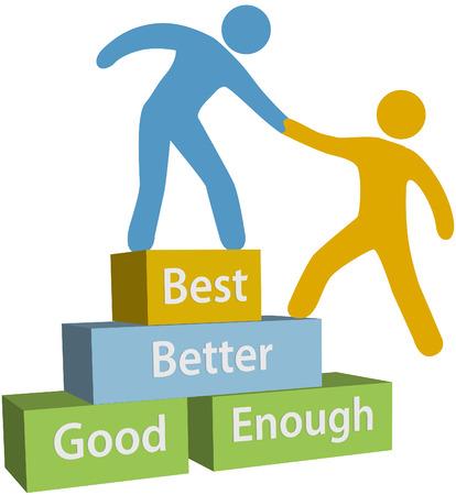 Mentor ayudar a la persona a alcanzar suficientemente bueno mejor y mayor mejoría en la evaluación Ilustración de vector