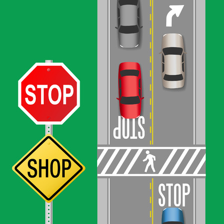 busy street: Signs to stop cars to shop sale store on busy street Illustration