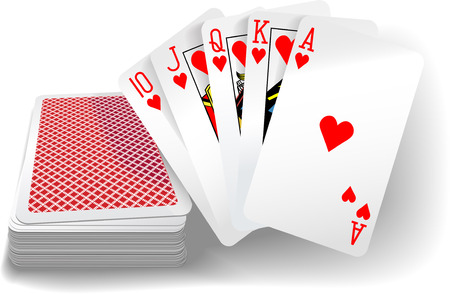Royal flush hearts five card poker hand playing cards deck Vector