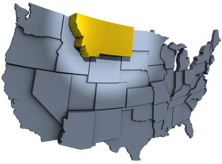 extruded: Spotlight on gold Montana Treasure State in map of United States of America raised