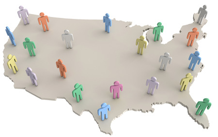 Group of people on map of United States as population voters consumers social data Archivio Fotografico