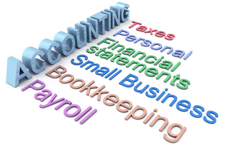 contabilidad financiera cuentas: Fila de los servicios de contabilidad de negocios personales y pequeñas
