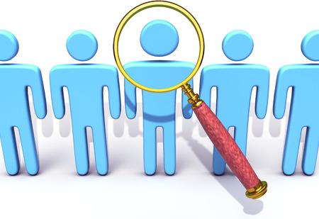유리 인적 자원 또는 다른 검색을 확대하는 것은 맞는 사람을 찾을 수 스톡 콘텐츠