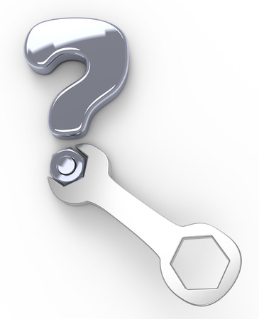 Tools help support question mark symbol of technology customer service help Stock Photo