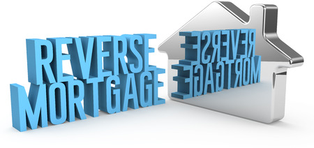 Home Reverse Mortgage information in reflection house symbol  Foto de archivo