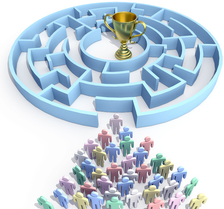 Leader and people start to search maze to find win success trophy solution photo