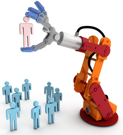 Robotic arm chooses one Person in group of people HR decision photo