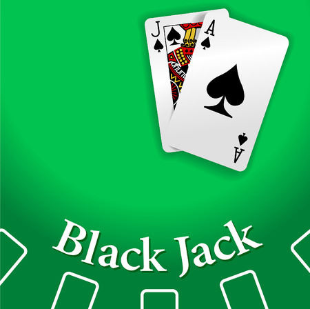 Black Jack and Ace of Spades playing cards on Blackjack game table copy-space Vector