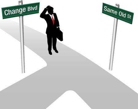 decide: Persona de negocios decide entre personas del mismo modo o cambiar y elegir nueva direcci�n del trazado Vectores