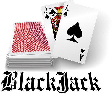 Black jack hand in spades as casino gambling playing card game