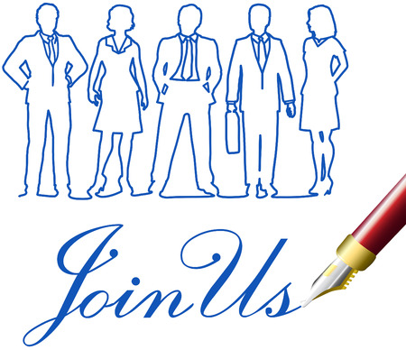 Recruiting invitation drawing to join company business team Illustration