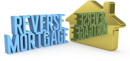 reverse: Home Reverse Mortgage money concept as gold house symbol