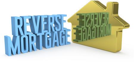Thuis omgekeerde hypotheek geld concept als goud huis symbool